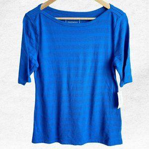NWT Charter Club Blue Textured Striped Top Shirt